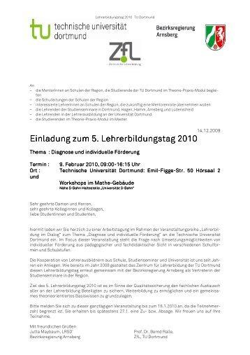 Einladung zum 5. Lehrerbildungstag 2010 - Fakultät 12 - TU Dortmund
