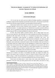 Témoins du désastre : la pensée de T. Adorno, M. Horkheimer, E ...