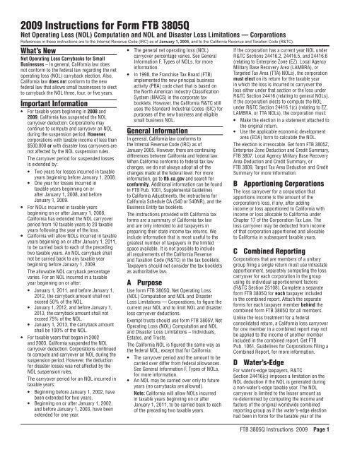 2009 Instructions for Form 3805Q - California Franchise Tax