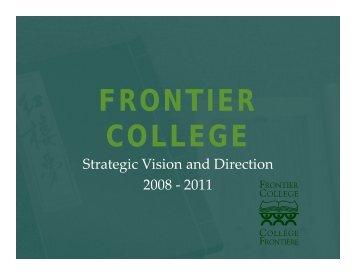 Strategic Plan 2008 - Frontier College