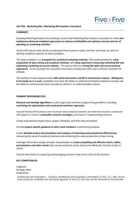 Job Title Marketing Mix Marketing Roi Analytics Gasug