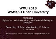 WOU 2013 WoMen's Open University - TU Dortmund