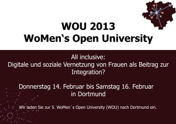 WOU 2013 WoMen's Open University - TU Dortmund