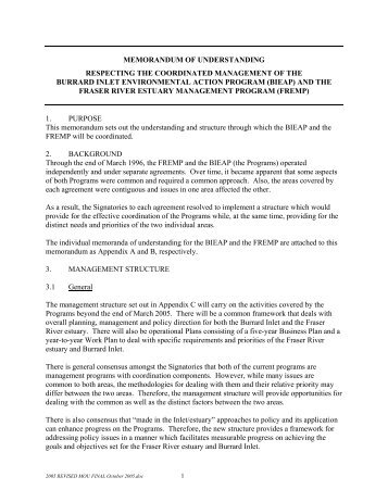 memorandum of understanding respecting the coordinated ...