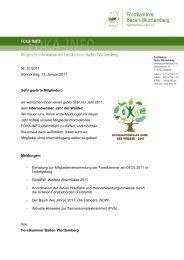FOKA-INFO Januar 2011 - Forstkammer Baden-Württemberg