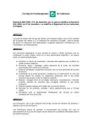 Resolució 006/2007 - Col·legi de Fisioterapeutes de Catalunya