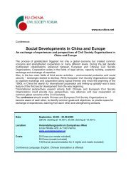 Social Developments in China and Europe - Frauenhetz