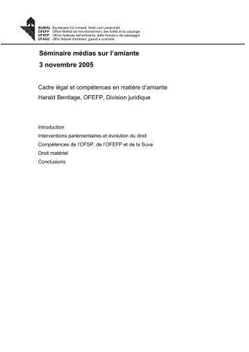 Cadre légal et compétences en matière d'amiante - Forum Asbest ...