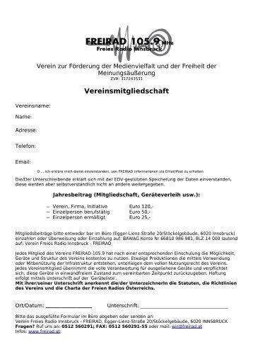 Vereinsmitgliedschaft - Freirad