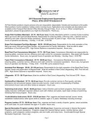 2013 Seasonal Employment Opportunities - Freeport Park District
