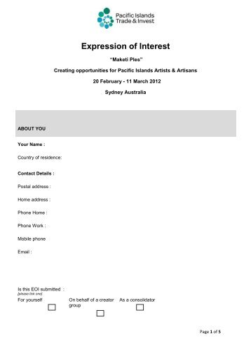 Aboriginals benefit account large project expression of interest form expression of interest eoi form pacific islands forum secretariat altavistaventures Gallery