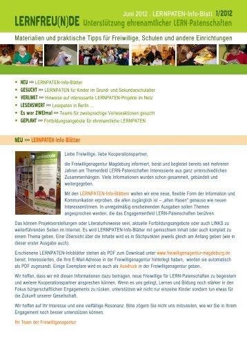 Juni 2012 . LERNPATEN-Info-Blatt - Freiwilligenagentur Magdeburg