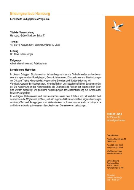 Programm Hamburg 2011 - Forum Unna