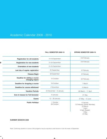 Academic Calendar 2009 - 2010