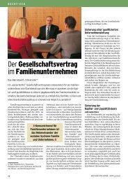 Der Gesellschaftsvertrag im Familienunternehmen - IKZ-Haustechnik