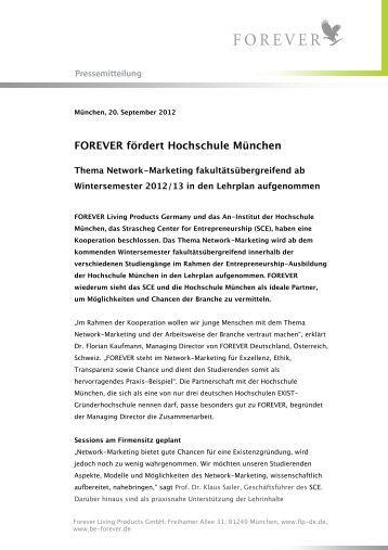 Pressemitteilung: FOREVER fördert Hochschule München