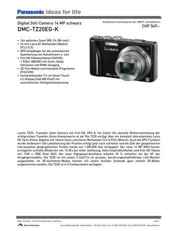 Datenblatt DMC-TZ20EG-K - Foto Basler Aarau