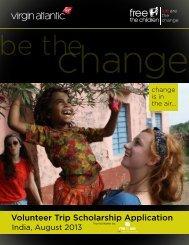 Volunteer Trip Scholarship Application - Free The Children