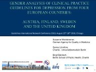 Gender analysis of clinical practice guidelines for depression
