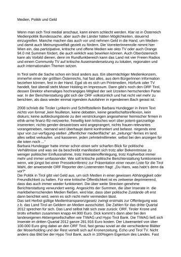 Medien, Politik und Geld Wenn man sich Tirol medial ... - Freirad