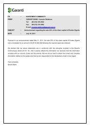 Announcement regarding the sale 20% of Eureko Sigorta