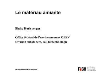 Le matériau amiante - Forum Asbest Schweiz