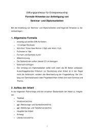 Stiftungsprofessur für Entrepreneurship Formale Hinweise zur ...