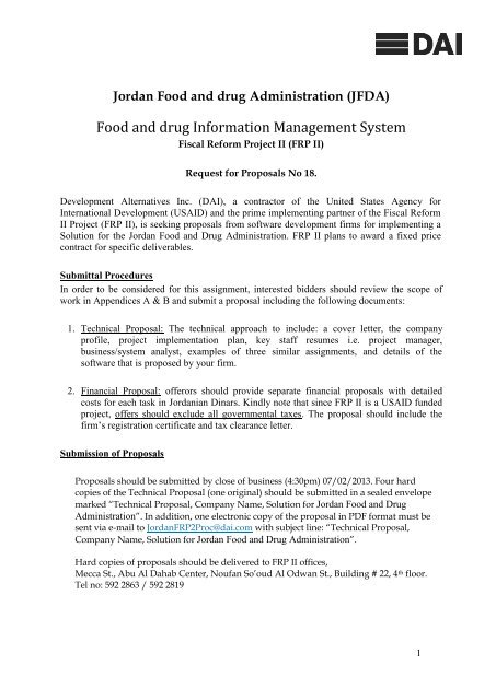 Jordan Food and drug Administration (JFDA) - Frp2 org