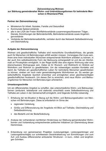 Zielvereinbarung Wohnen zur Stärkung gemeindenaher ... - ForseA
