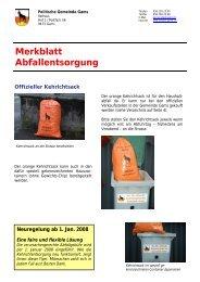Merkblatt Abfallentsorgung - Gemeinde Gams