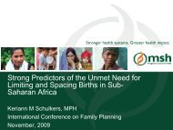 Strong Predictors of the Unmet Need for Limiting and Spacing Births ...