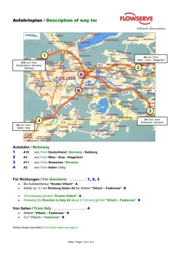 Anfahrtsplan / Description of way to: A B 1 4 3 2 - Flowserve