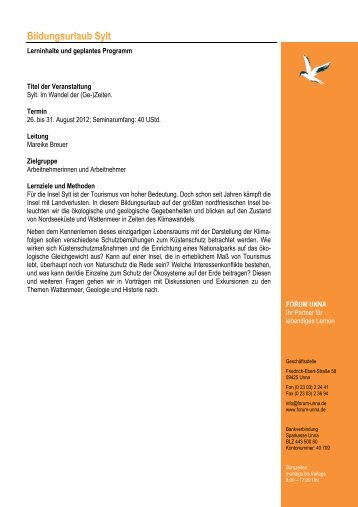 Programm Sylt 2012 - Forum Unna