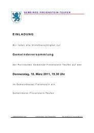 Gemeindeversammlung - Gemeinde Freienstein-Teufen