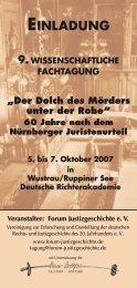 vom 5. bis 7. Oktober 2007 - Forum Justizgeschichte eV