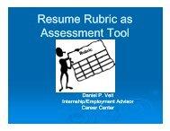 Resume Rubric as Assessment Tool - Gallaudet University