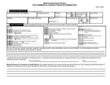 Medical examination report D4 - DVLA