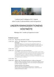 undervisningssektionens höstmöte - Svenska Fysikersamfundet