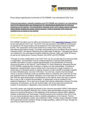 Presseinformation zur Beteiligung von FIZ ... - FIZ Chemie Berlin
