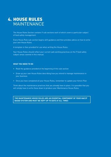 4. HOUSE RULES MAINTENANCE