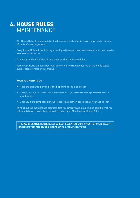 4  HOUSE RULES MAINTENANCE