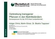Verbreitung transgener Pflanzen in den Beitrittsländern
