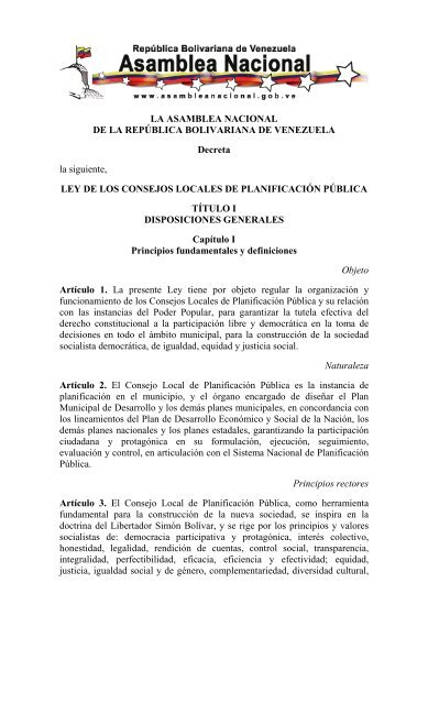 Ley De Los Consejos Locales De Planificación Dirección De