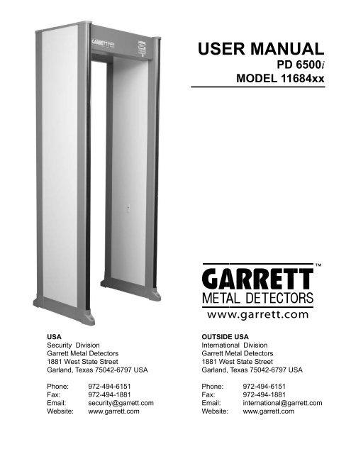 Garrett PD6500 instructions  - Galls