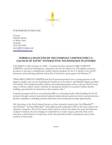 formula selected by ssd company limited for us launch ... - Formula PR