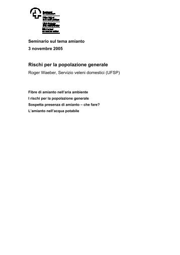 Rischi per la popolazione generale - Forum Asbest Schweiz