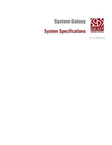 System Specifications - Galaxy Control Systems