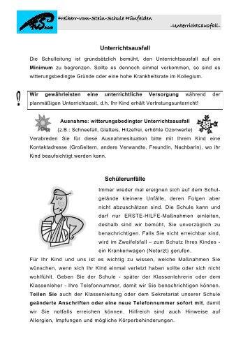 Entwurf Infoheft Unterrichtsausfall - Freiherr-vom-Stein-Schule
