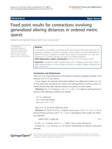 Fixed point results for contractions involving generalized ... - Springer