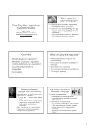 Overview What is Cultural Linguistics?